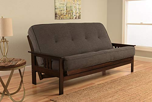 Kodiak Furniture KFMOEPLCHALF5MD3 Monterey Futon Set with Espresso Finish, Full, Linen Charcoal