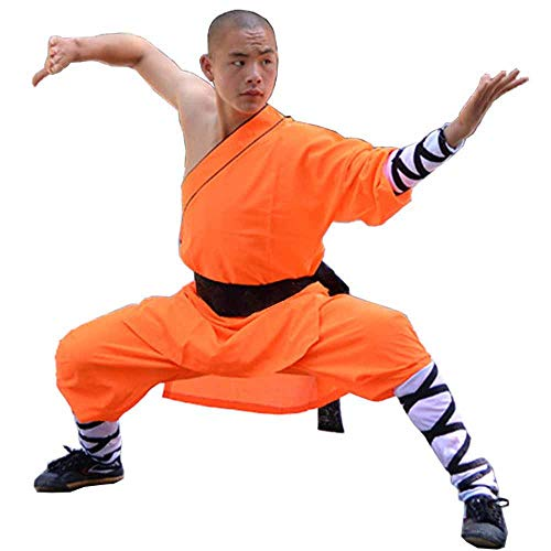 Shaolin Temple Warrior Monk's Robe Chinese Traditional Martial Arts Kung Fu Uniform Buddhist Zen Moine Baggy Pants with Belt (Orange, -