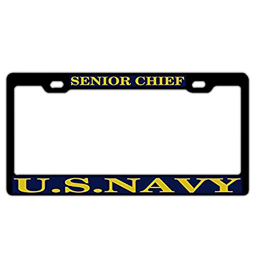 YEX Abstract US Navy Senior Chief License Plate Frame Car License Plate Covers Auto Tag Holder 6