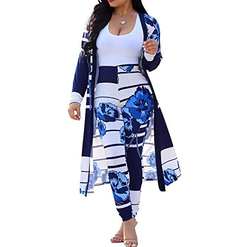ChengQi Womens Fashion Printed Long Cardigans 2 Piece Outfits,Long Sleeve Coat Trousers Set(Blue,S)
