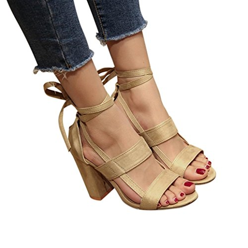 kaifongfu Women Ladies Sandals,Fashion Women Ankle High Heels Block Party Open Toe Shoes (41ღღUS:8, Beige)