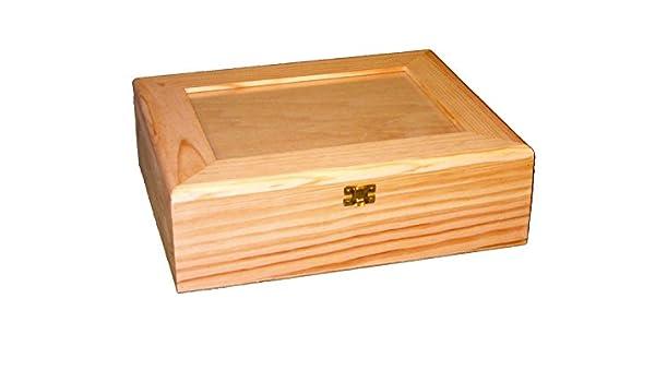 Caja madera y cristal grande. En crudo, para pintar. Medidas (ancho/fondo/alto): 34 * 28 * 11 cms.: Amazon.es: Hogar