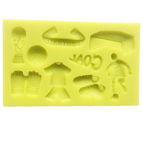- Food use grade sugarcraft Theme World Cup Soccer Football Match Candy cupcake topper Silicone Mold, Sugarcraft cake decoration Food Grade Icing lace Mould, non stick Sugar paste, Chocolate, Fondant, Butter, Resin, Cabochon, Polymer Clay, fimo, gum paste, PMC, Wax, Soap Mold, 10x6.5x1cm,Trophy 2.5x1cm,soccer diametre 1.3cm,Field Glove pair 2x1.6cm,jersey and shorts 3x1.8cm,