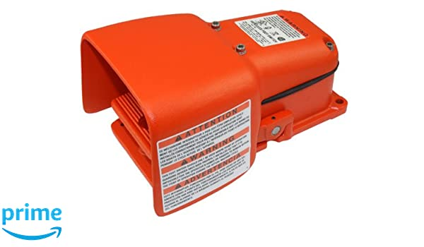 Single Pedal Single Stage Orange Linemaster 571-DWH Hercules Foot Switch Maintained Electrical Full Aluminum Guard SPDT
