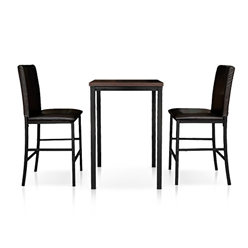 iKayaa 3PCS Pub Bar Table with 2 Chairs Kitchen Breakfast Table Set (Chair Breakfast)