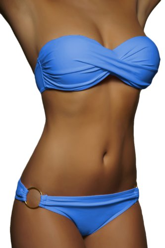 ALZORA Push Up Twist Bandeau Bikini Set Damen Pushup Badeanzug Blau , 10452