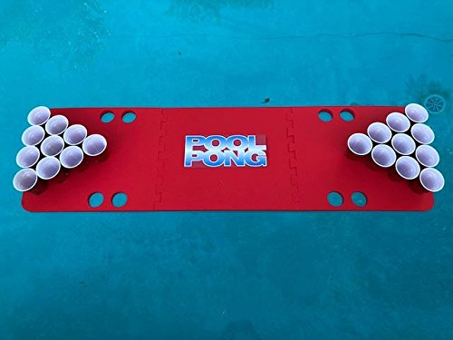 Red Pool Pong Foam Beer Pong Table - 6ft, Foam, All Weather, Portable - Floats Anywhere by Floating Pong