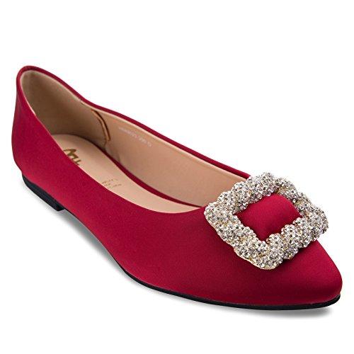 new arrivals fe3d0 e7c3b Soie Femme Seule Bf Avec Amphlbole Boucle Slip Sur Chaussures Plates Rouge  ...