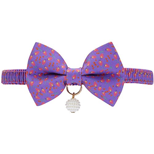 - Blueberry Pet 18 Designs Purple Tulip Floral Breakaway Bowtie Cat Collar Choker Necklace with Handmade Bow Tie and Pearl Charm, Safety Elastic Stretch Collar for Cats, Neck 8.5