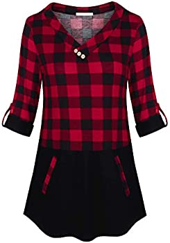 Messic 3/4 Rolled Sleeve Plaid Color Block Tunic Womens Tops