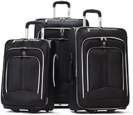Olympia Luggage Hamburg 3-Piece Luggage Set,Black,One Size