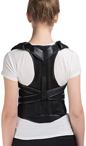 バックブレース姿勢補正ベルト調節可能なブレースショルダーバックサポートベルト腰椎サポートストレートコレクター用男性女性 (Size : L)