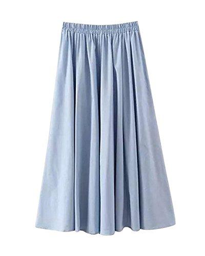 Femme Jupe Max A-Linei Coton Simple Elgante Classique Vintage Elastique Taille pour Et Plage Dcontract Maison Plisse Jupe Bleu Ciel