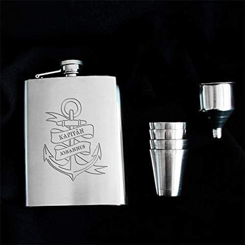 Geschenke.de Personalisierbarer Flachmann mit Gravur und Anker-Motiv - individuelles Geschenk für Männer, für den Freund, Geschenkidee für Partner, Opa oder als Segler Geschenk