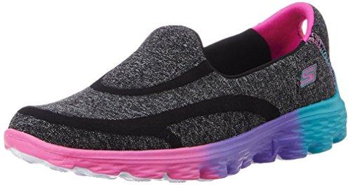 Skechers Kids Go Walk 2-Sweet Socks Athletic Slip On (Little Kid/Big Kid), Black/Multi, 4.5 M US Big Kid