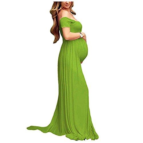 Vestido Larga Sexy Mujer Embarazada Vestido de Maternidad Photoshoot Dress Faldas Fotográficas de maternidad Apoyos De Fotografía Verde