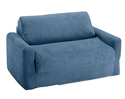 amazon com fun furnishings sofa sleeper blue micro suede kitchen rh amazon com Teenager Sofa Sleeper Tinkerbell Sofa Sleeper