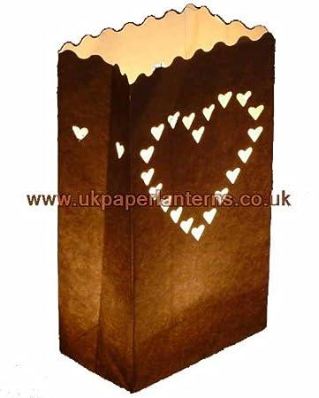 Amazon.com: Vela corazón bolsa de papel linterna de la ...