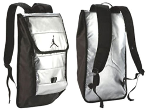 "Price comparison product image NIKE Jordan Retro 8 ""Chrome"" World Commuter Backpack Book Bag Laptop Protection Sport Rucksack SPECIAL EDITION (Metallic Silver Black)"