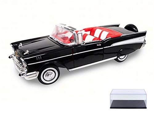 Road Signature Diecast Car & Display Case Package - 1957 Chevrolet Bel Air Convertible, Black 92108 - 1/18 Scale Diecast Model Toy Car w/Display Case