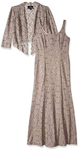 Alex Evenings Women's Long A-Line Scoop Neck Dress with Jacket, Mink, 18