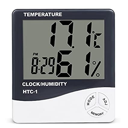 Office Built-in Clock and Time Display,Accurate Temperature Humidity Monitor Meter for Home Greenhouse Humidity Gauge Indicator Room Thermometer Sparoma Digital Hygrometer Indoor Thermometer