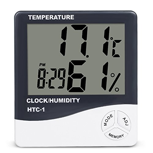 YCDC Digital LCD Temperature Humidity Meter Hygrometer, Greenhouse Room Indoor Thermometer Monitor, Clock Beep Remind, 1.5V AAA Operated Barometer(Not included), Desktop Temperature Guage Monitor, 1Pc