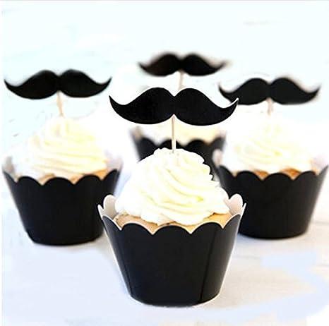 High Street Secret 12 x Negro Bigote Barba Fiesta de cumpleaños celebración Pastel Cupcake Wrapper, Color Negro: Amazon.es: Hogar