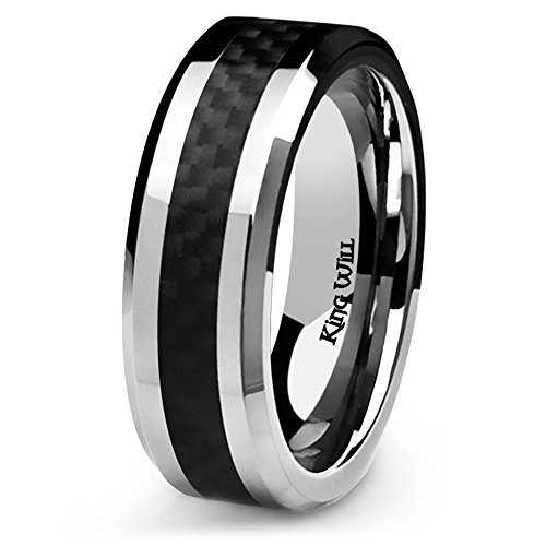 King Will GENTLEMAN 7MM Mens Titanium Ring Black Carbon Fiber Inlay Comfort Fit Polished Wedding Band (9.5) ()