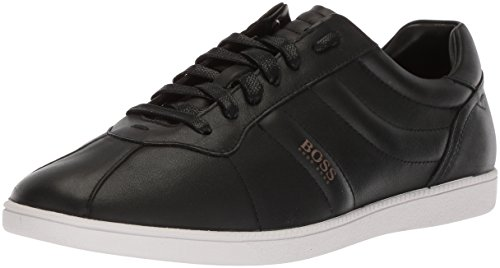 Hugo Boss BOSS Orange by Men's Rumba Leather Tennis Sneaker Construction Shoe, Black, 10 M US
