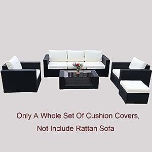 Do4U 7pcs Outdoor Patio Garden Rattan Wicker Sofa Set Sectional Furniture Set (9002 custom Covers)
