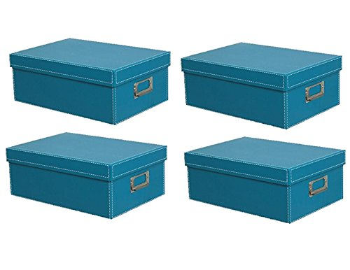 KVD Kleer-Vu Deluxe Albums Inc. Photo Box Collection, Photo Storage Boxes, For Photos, DVDs, CDs & Negatives, Aqua 4pk by KVD