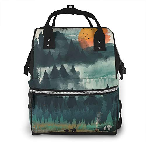 Camping Tent Print Fashion Laptop Backpack Travel Backpack Large Diaper Bag Doctor Bag School Backpack for Women&Men