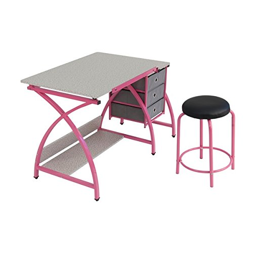 Studio Designs Pink Comet Drafting and Hobb Craft Center Table with Stool