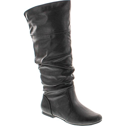 Qupid Women's Neo144 Leatherette Basic Slouchy Knee High Flat Boot,Black Pu-14,8.5