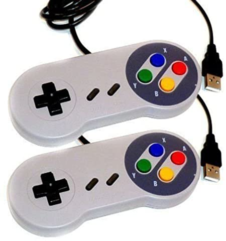 2 × SNES USB Controller For PC/Mac Super Nintendo Games Retro Classic Gamepad#X# (Roku Purple)