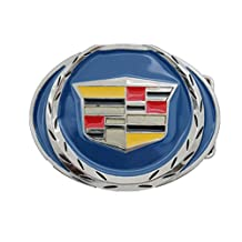 TFJ Men Women Belt Buckle Silver Metal Car Cadillac Logo Emblem Blue