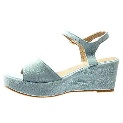 Angkorly Damen Schuhe Sandalen Mule - Plateauschuhe - String Tanga - Schleife Keilabsatz High Heel 7 cm Blau