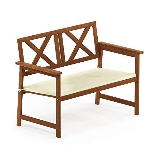 Seville Storage Deck Bench - Furinno FG18113C Tioman Hardwood Outdoor Patio Furniture X-Back Bench in Teak Oil, 1, Natural