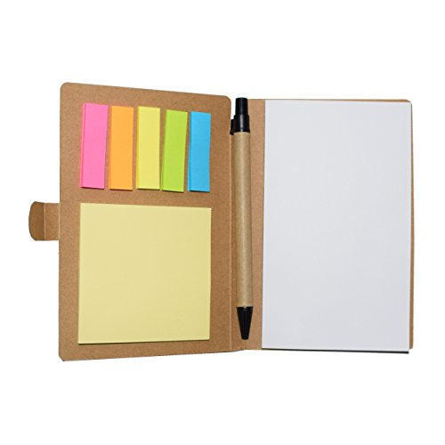 - Multi-function Sticky Notes Flag Set Kraft Paper Notebook Personalized Notepads With Pen (Kraft Paper Cover)