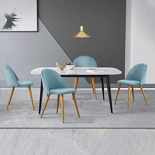 CLIPOP - Juego de 4 sillas de comedor de terciopelo con respaldo y patas de metal resistente de estilo de madera para salon, sala de estar, cocina, oficina y restaurante, azul claro, 46*46*77 CM
