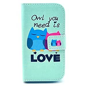 TOPQQ Owl Need Love Pattern PU Leather Cover Case with Stand for Samsung Galaxy Star Pro S7262