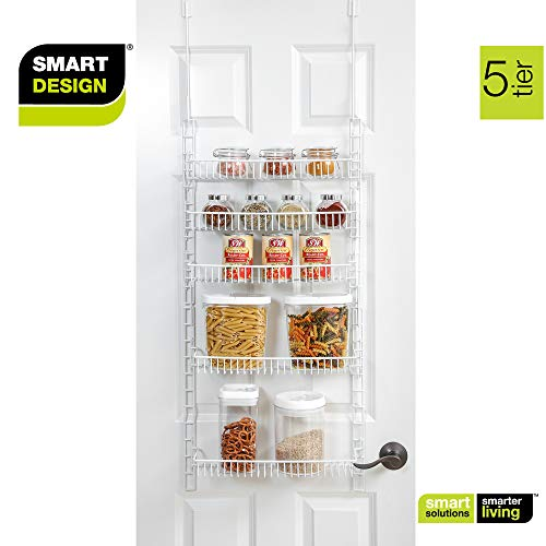 Smart Design Over The Door Adjustable Pantry Organizer Rack w/ 5 Adjustable  Shelves - Small 51 Inch - Steel Construction w/ Hooks & Screws - for Cans,