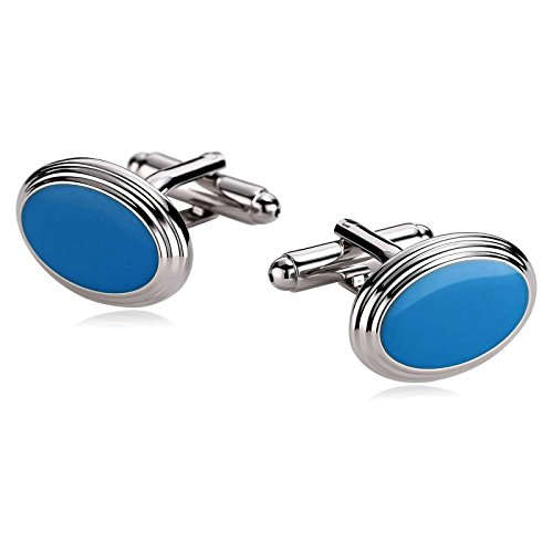 Epinki Stainless Steel Epoxy Oval Silver Blue Men's Gift for Wedding Tuxedo Shirt Cufflinks