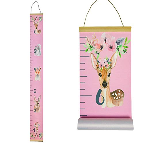 Adorable Kids Growth Chart by Morxy | Super Cute Children's Reusable Height Chart | Easy to Install Personalized Toddler Development Chart | Woodland Design | Track Your Baby's Growth - Canvas Newborn Growth Chart
