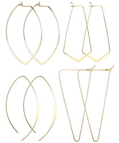 LOLIAS 4 Pairs Geometric Threader Hoop Earrings for Women Girls Hypoallergenic Lightweight Thin Drop Dangles Fashion Earring Jewelry,G