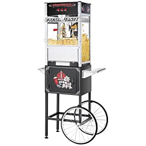 Great Northern Black Commercial Quality Popcorn Popper Machine with Cart, 12 Ounce
