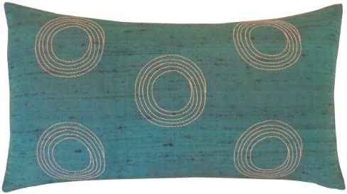 Jiti Center Throw Pillow, Silk, 12 by 20-Inch, Teal