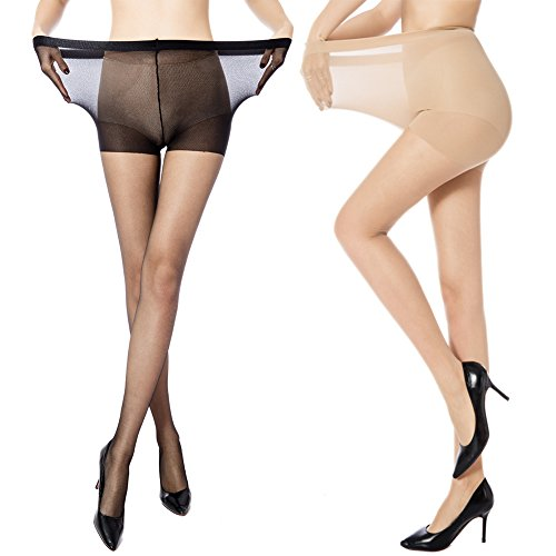 dc9db178cd2 MANZI Women s 2 Pairs Plus Size Control Top Ultra-Soft Tights ...