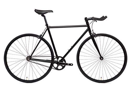 State Bicycle 6.0 Fixed Gear/Single Speed Bike Bullhorn, Matte Black, 59cm/Large